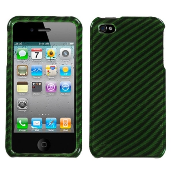 INSTEN Racing Fiber/ Dark Green/ Silver Phone Case Cover for Apple iPhone 4S/ 4