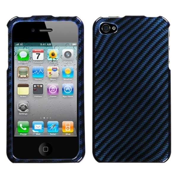 INSTEN Racing Fiber/ Blue/ Silver Phone Case Cover for Apple iPhone 4S/ 4