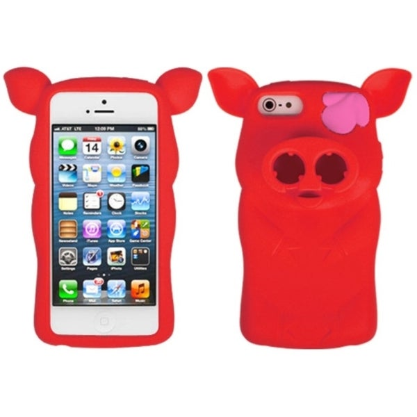 INSTEN Red Pig Nose Skin Phone Case Cover for Apple iPhone 5