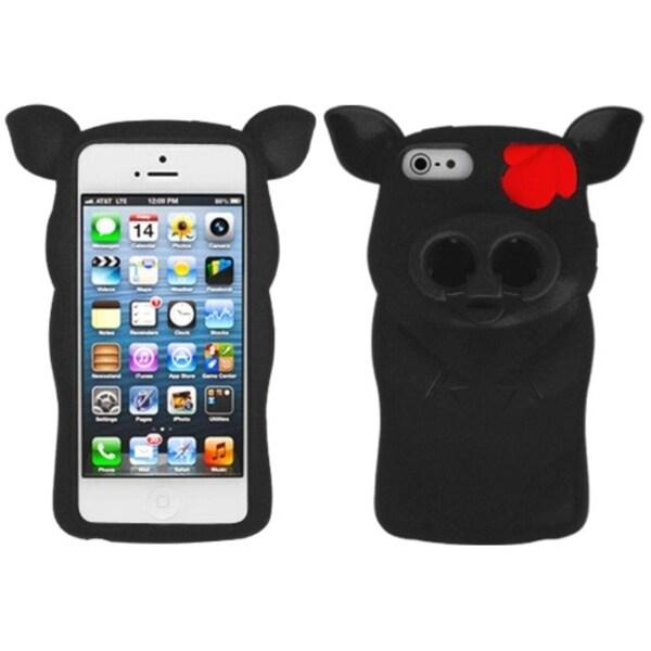 INSTEN Black Pig Nose Skin Phone Case Cover for Apple iPhone 5