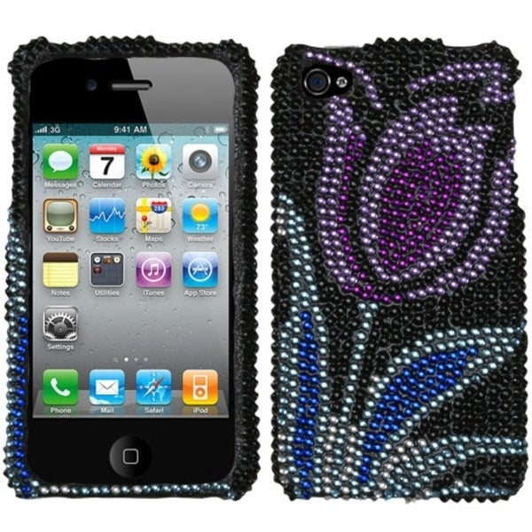 INSTEN Purple Flowering Tulip Diamante Phone Case Cover for Apple iPhone 4S/ 4