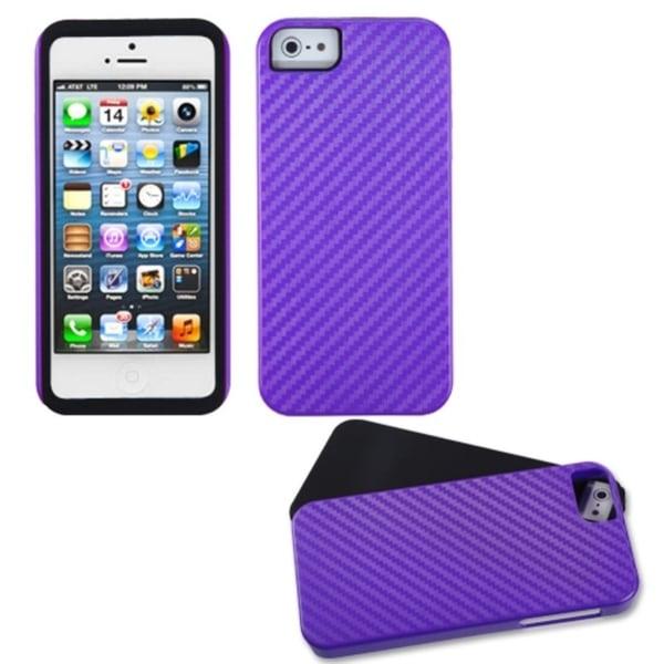 INSTEN Purple Crosshatch Fusion Phone Case Cover for Apple iPhone 5