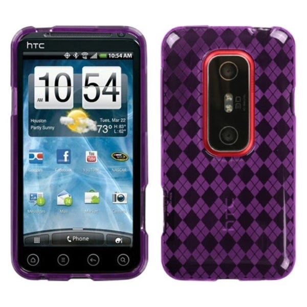 INSTEN Purple Argyle Candy Skin Phone Case Cover for HTC EVO 3D/ EVO V 4G