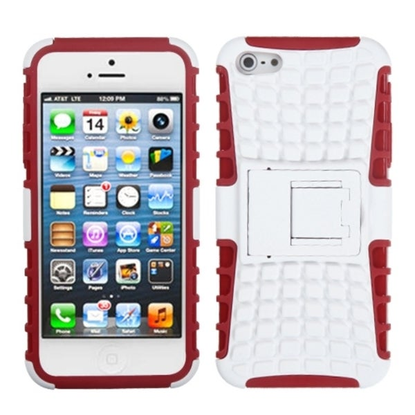 INSTEN White/ Red Rubber Armor Stand Phone Case Cover for Apple iPhone 5