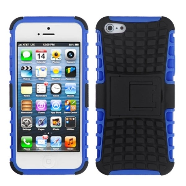 INSTEN Black/ Blue Rubber Armor Stand Phone Case Cover for Apple iPhone 5