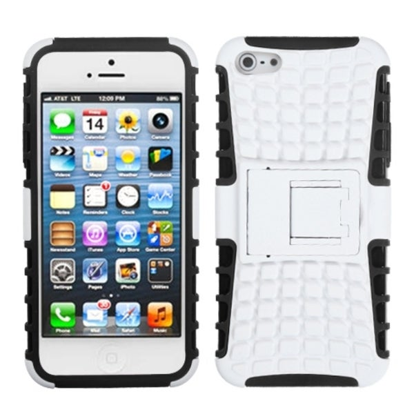 INSTEN White/ Black Rubber Armor Stand Phone Case Cover for Apple iPhone 5