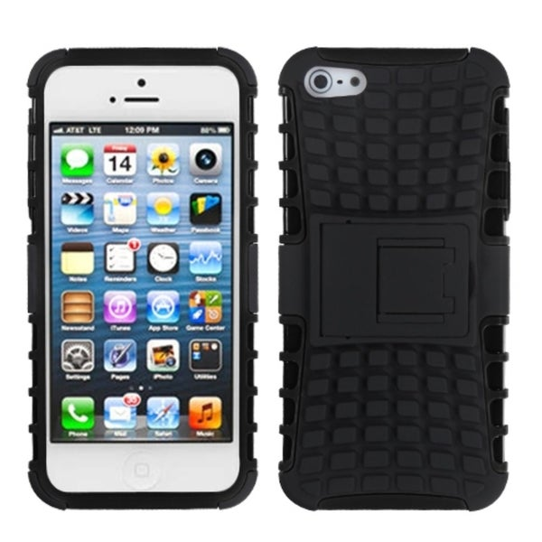 INSTEN Black/ Black Rubber Armor Stand Phone Case Cover for Apple iPhone 5
