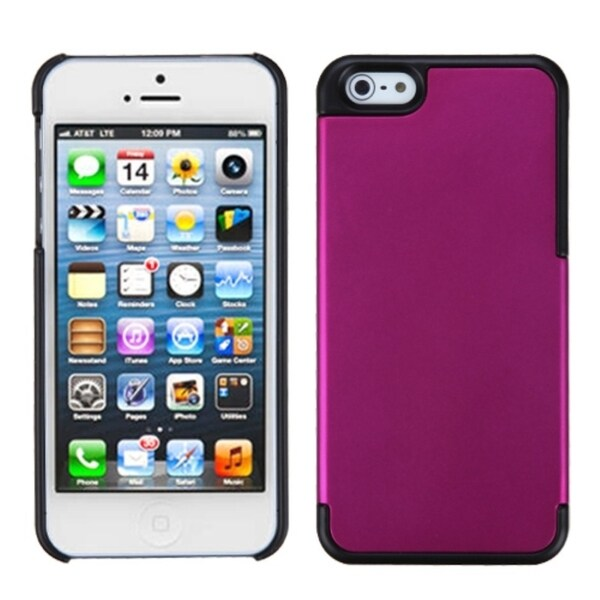 INSTEN Solid Pink/ Black MyDual Protector Phone Case Cover for Apple iPhone 5