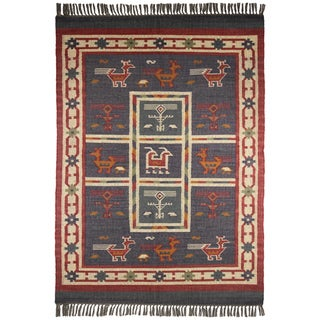 Hand-woven Blue Tribal Print Wool and Jute Rug (10' x 14')