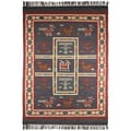 Hand-woven Blue Tribal Print Wool and Jute Rug (8' x 10')