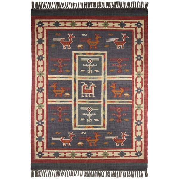 Hand Woven Blue Tribal Print Wool And Jute Rug 8 X 10