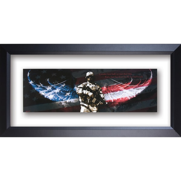 James Lawrence 'Soldier-No Greater Love' Double Glass Matted Framed Wall Art