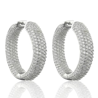 Dolce Giavonna Silver Overlay Cubic Zirconia Inside-out Hoop Earrings
