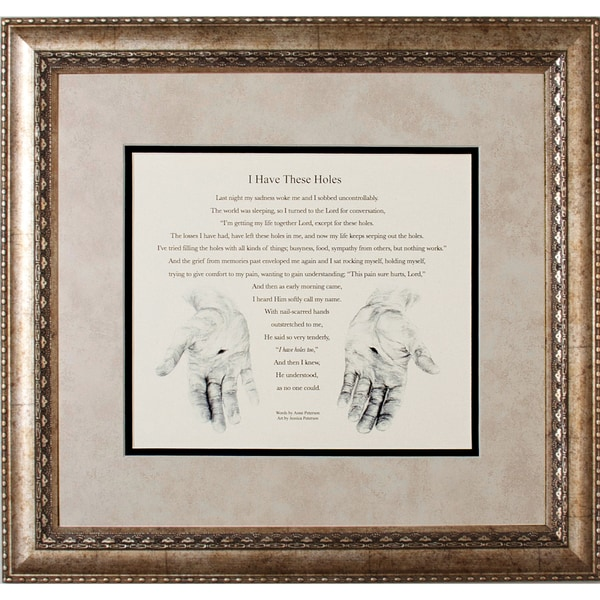 James Lawrence 'I Have these Holes' Framed Art with verse from Anne Peterson