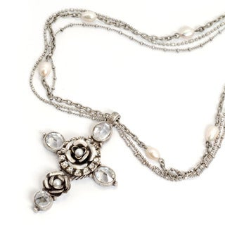 Sweet Romance Silvertone Crystal Rose Cross Necklace
