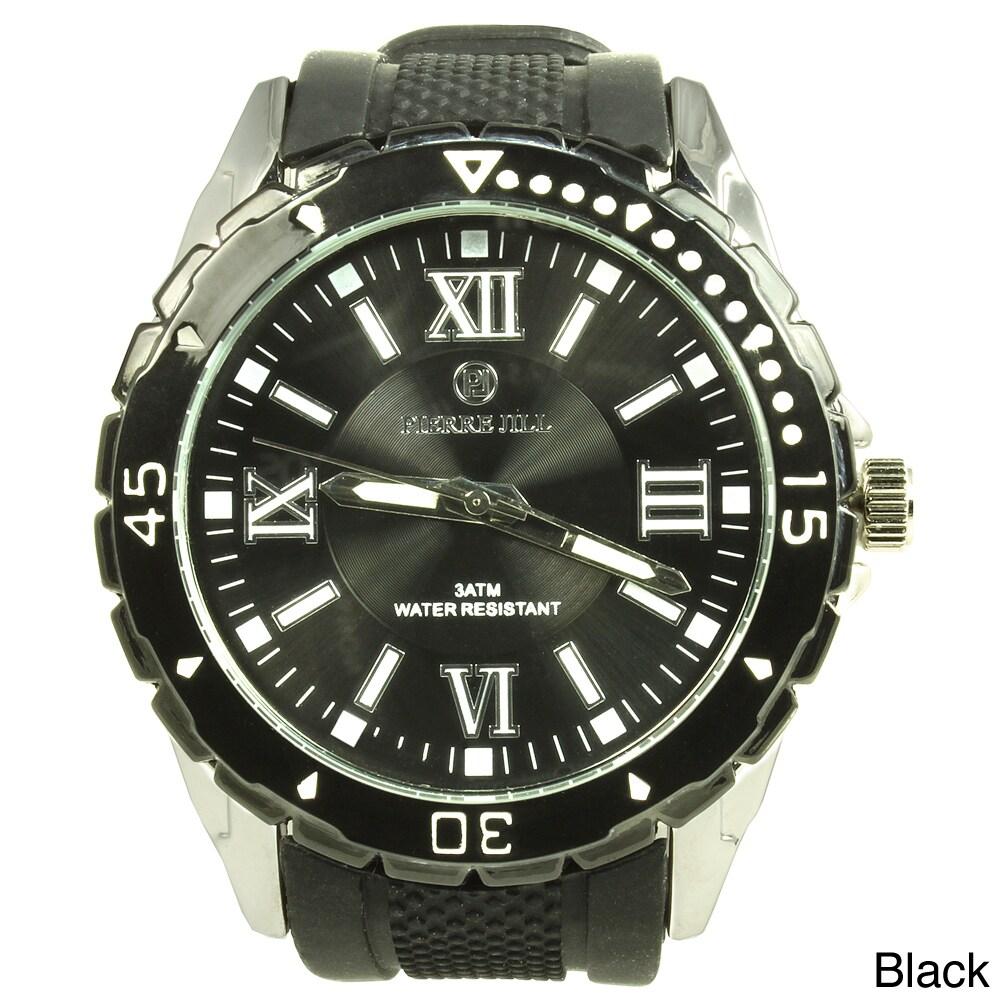 Pierre Jill Pierre Jill Men's Black Dial Silicone Strap Watch