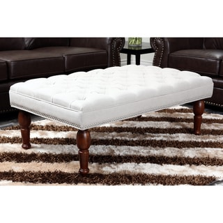 Abbyson Living Soho Tufted Linen Ottoman Bench