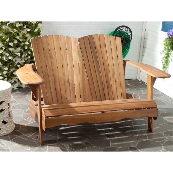 Outdoor living hantom adirondack natural wood bench patio - Natural wood outdoor furniture ...