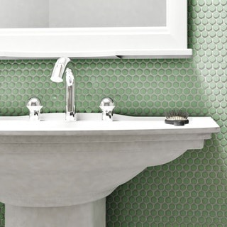 SomerTile 9.875x11.5-inch Victorian Penny Matte Light Green Porcelain Mosaic Floor and Wall Tile (Case of 10)