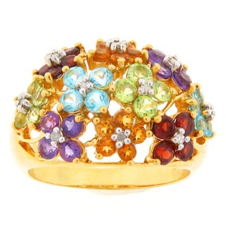 Meredith Leigh Yellow-plated Silver Multi-gemstone and Diamond Accent Ring