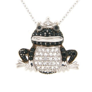 Meredith Leigh Silver Black Spinel and White Topaz Frog Necklace