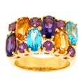 Meredith Leigh Yellow-plated Silver Multi-gemstone Band