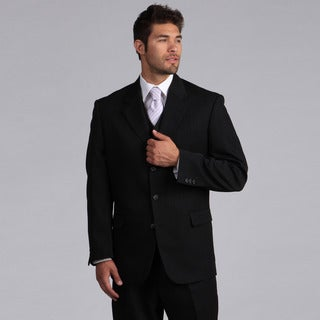 Lucelli Men's Black Shadow Stripes Vested 3 Button Suit