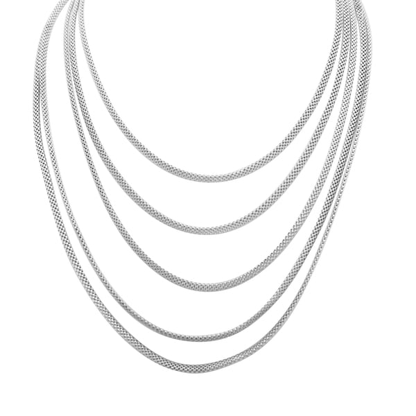 Gioelli Sterling silver Five-strand Mesh Necklace