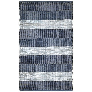 Hand Woven Matador Blue Stripe Leather Rug (8' x 10')