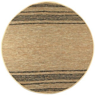 Hand Woven Matador Tan Leather Rug (6' Round)