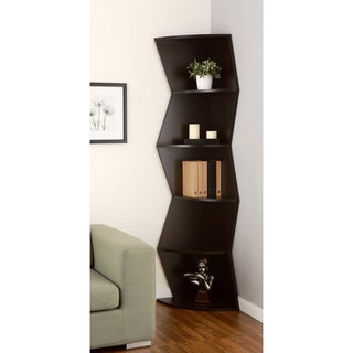 Furniture of America Jaggi Modern Cappuccino Corner Bookcase