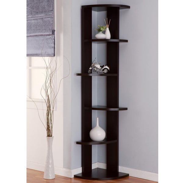 ... Marvey 75-inch Modern Cappuccino 5-Tier Corner Bookcase/ Display Stand