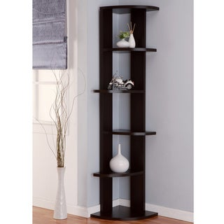 Furniture of America Marvey 75-inch Modern Cappuccino 5-Tier Corner Bookcase/ Display Stand