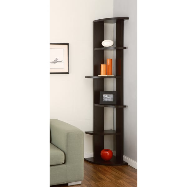 furniture of america marvey 75 inch modern cappuccino 5 tier