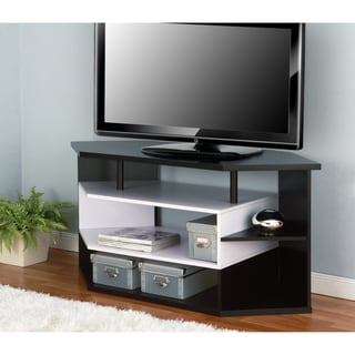 Furniture of America 47-Inch Black and White Contemporary Corner TV Stand