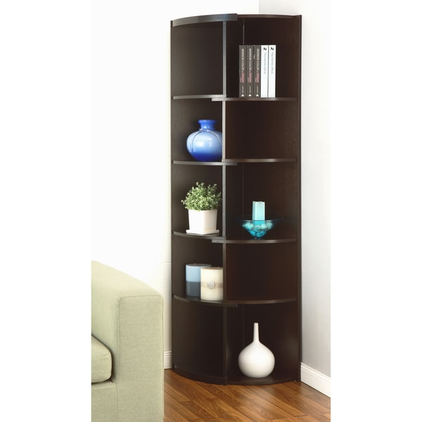 Furniture of America Collins Contemporary Curvy Walnut Corner Bookcase