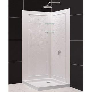 SlimLine Double Threshold Shower Base and QWALL-4 Shower Backwalls Kit