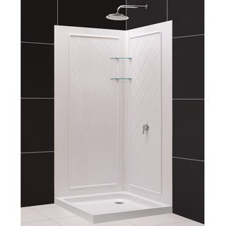 SlimLine Double Threshold Shower Base and QWALL-4 Shower Backwalls Kit