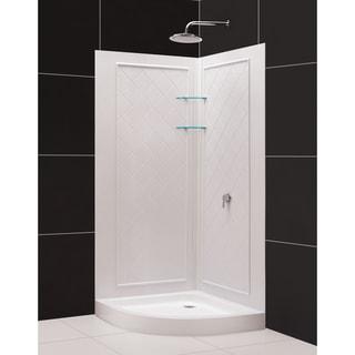 SlimLine Quarter Round Shower Floor and QWALL-4 Shower Backwalls Kit