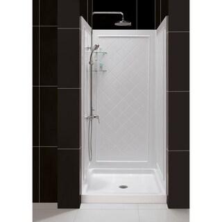 SlimLine Single Threshold Shower Base and QWALL-5 Shower Backwalls Kit