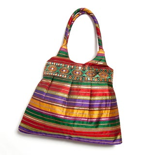 Multi-Color Shopper Bag with Ari Embroidered Patch Border (India)