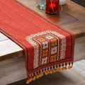 Hand-stitched Burgundy Rabari Table Runner Embroidered with Beads and Mirrors (India)