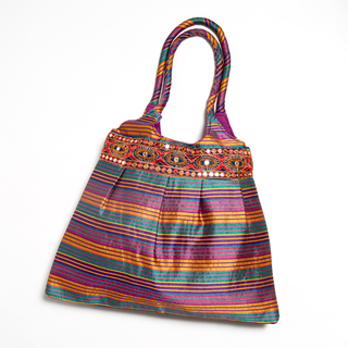 Multi-Color Striped Shopper Bag with Ari Embroidered Patch Border (India)