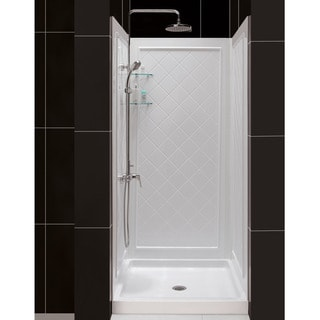 SlimLine Single Threshold Slip-Resistant Shower Base and QWALL-5 Shower Backwalls Kit