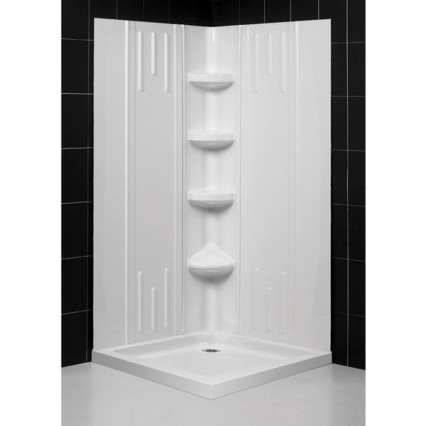 SlimLine Acrylic Double-Threshold Shower Base and QWALL-2 Shower Backwalls Kit
