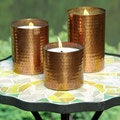 Set of Three Hammered Copperplate Candles (India)
