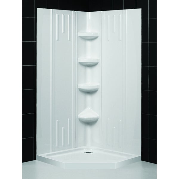 slimline 36 x 36 inch neo shower base and qwall 2 shower