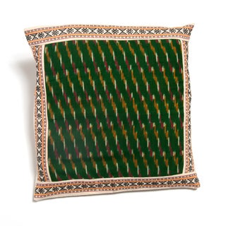 Green Cushion Cover from Hyderabad with Ikat Weave (India)