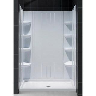 SlimLine Single Threshold Shower Base and QWALL-3 Shower Backwalls Kit