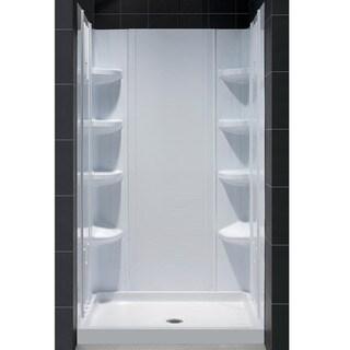 Fiberglass Reinforced SlimLine Single Threshold Shower Base and QWALL-3 Shower Backwalls Kit